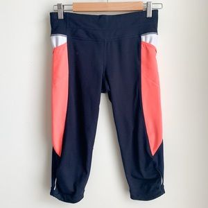 Athleta Blue and Coral Capri Pants Size S